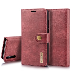 DG.MING for Huawei P20 Detachable 2-in-1 Split Leather Wallet + PC Mobile Phone Casing - Red