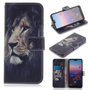 Pattern Printing Wallet Leather Stand Cover for Huawei P20 - Lion Pattern