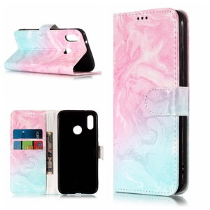 Pattern Printing Wallet Stand Leather Mobile Shell for Huawei P20 Lite / Nova 3e - Blue and Rose Lava Pattern