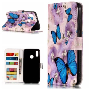 Pattern Printing Embossed Leather Wallet Case for Huawei P20 Lite / Nova 3e - Blue Butterfly