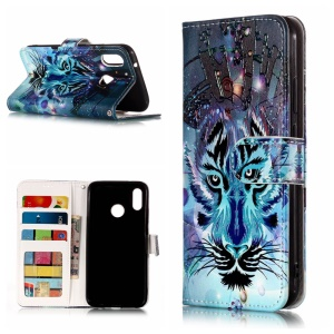 Pattern Printing Embossed Wallet Leather Stand Cover for Huawei P20 Lite / Nova 3e - Wolf Pattern