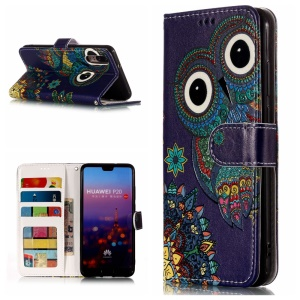 Pattern Printing Embossed Leather Wallet Case for Huawei P20 - Colorized Owl