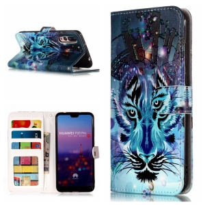 Embossment Patterned Wallet Stand Leather Casing for Huawei P20 Pro - Wolf