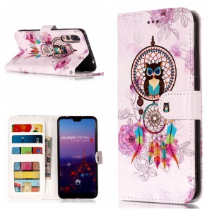 Embossment Patterned Wallet Stand Leather Accessory Case for Huawei P20 Pro - Owl and Dream Catcher