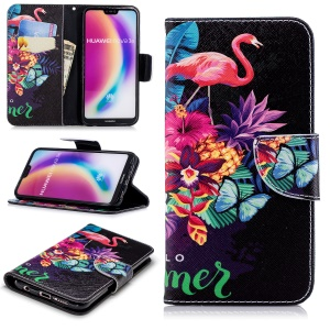 Patterned Leather Wallet Stand Case for Huawei P20 Lite / Nova 3e - Flamingo and Pineapple