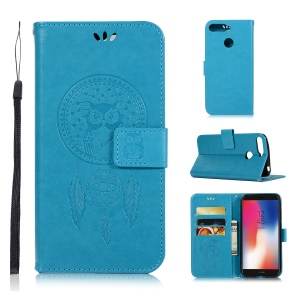 Imprint Owl Dream Catcher Wallet Stand Leather Cell Phone Case for Huawei Y6 (2018) / Honor 7A (with Fingerprint Sensor) / Honor 7A (without Fingerprint Sensor) - Blue