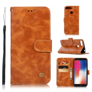 Retro Style PU Leather Folio Flip Cell Phone Casing for Huawei Y6 (2018)/Honor 7A (with Fingerprint Sensor)/Honor 7A (without Fingerprint Sensor) - Brown