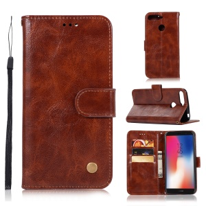Retro Style PU Leather Stand Folio Flip Mobile Phone Cover for Huawei Y6 (2018)/Honor 7A (with Fingerprint Sensor)/Honor 7A (without Fingerprint Sensor) - Coffee