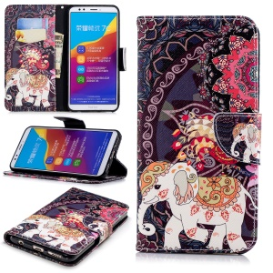 Patterned Leather Wallet Stand Casing for Huawei Honor 7C / Enjoy 8 /Y7 Prime (2018) - Elephant and Peacock