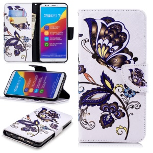 Patterned Leather Wallet Stand Phone Accessory Case for Huawei Honor 7C / Enjoy 8 /Y7 Prime (2018) - Butterfly and Flower