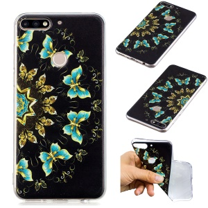 Pattern Printing TPU Soft Case for Huawei Honor 7C / Enjoy 8 / Y7 Prime (2018) - Colorized Butterfly