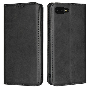Auto-absorbed Leather Wallet Stand Phone Case for Huawei Honor 10 - Black