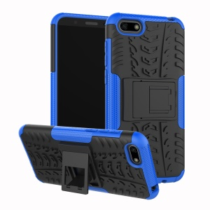 Anti-slip PC + TPU Combo Cover Case with Kickstand for Huawei Y5 Prime (2018) / Y5 (2018) - Blue