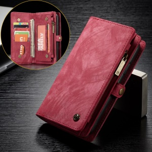 CASEME Vintage Split Leather Multi-slot Wallet Protection Cover for Huawei P20 - Red