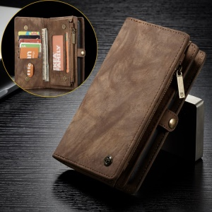 CASEME Vintage Split Leather Wallet Mobile Phone Cover Case with Multi-slot for Huawei P20 - Brown