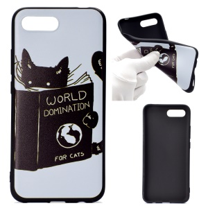 For Huawei Honor 10 Patterned TPU Cover Soft Casing - Cat Reading Book