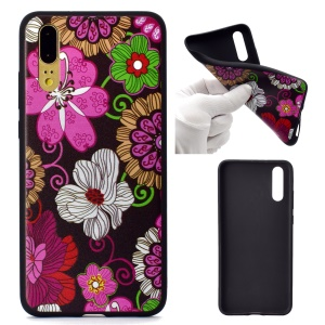 For Huawei P20 Patterned TPU Cover Soft Case Accessory - Flowers