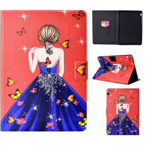 Pattern Printing Card Holder Stand Leather Cover Shell for Huawei MediaPad T3 10 - Butterfly and Pretty Girl