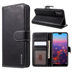 KAIYUE Stand Genuine Leather Wallet Cellphone Casing for Huawei P20 - Black
