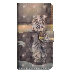 Light Spot Decor Patterned Wallet Stand Leather Cell Phone Case for Huawei Y5 (2018) - Cat