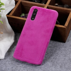 Purple - Fluffy Fur Coated Soft TPU Protector Mobile Phone Case for Huawei P20