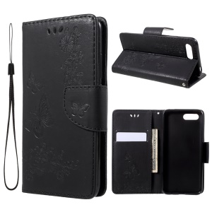 Imprint Butterfly Flowers Leather Wallet Stand Phone Shell for Huawei Honor 10 - Black