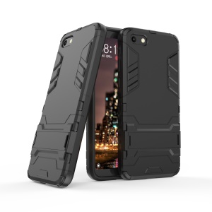 Black - Cool Guard Plastic TPU Hybrid Case with Kickstand for Huawei Y5 (2018) / Y5 Prime (2018)