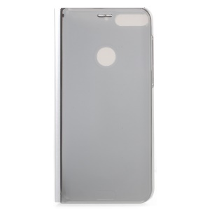 Electroplating Mirror Surface View Window Leather Stand Casing for Huawei Honor 7C/Y7 Prime (2018)/nova 2 lite (Philippines)/Enjoy 8 - Grey