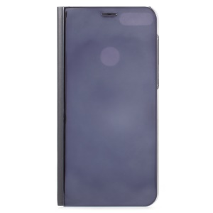 Electroplating Mirror Surface View Window Leather Stand Casing Shell for Huawei Honor 7C/Y7 Prime (2018)/nova 2 lite (Philippines)/Enjoy 8 - Dark Blue