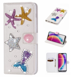 Sea Stars - For Huawei P20 Lite / Nova 3e Rhinestone Decor PU Leather Wallet Stand Case