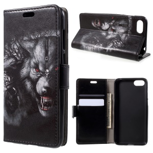Patterned Leather Wallet Stand Case for Huawei Y5 Prime (2018)/Y5 (2018)/Honor 7s - Fierce Wolf