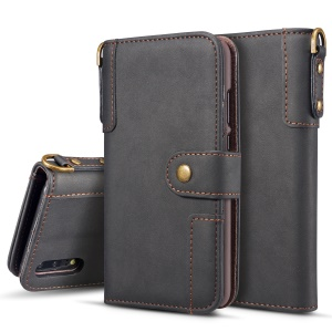 Black - Retro Style Split Leather Wallet Stand Phone Flip Mobile Phone Case with Strap for Huawei P20