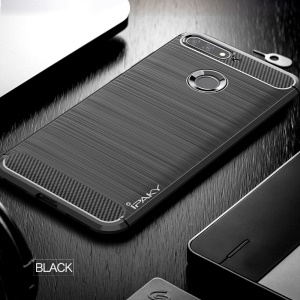 IPAKY Brushed TPU Cover Case for Huawei Enjoy 8E / Honor 7A Pro / Honor 7A (with Fingerprint Sensor) with Carbon Fiber Decorated  - Black