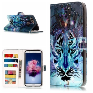 Embossing Pattern PU Leather Protection Cell Phone Case for Huawei P Smart / Enjoy 7S - Wolf