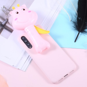 3D Cartoon Deer Soft TPU Jelly Casing Cover with Fan for Huawei P20 Pro - Pink