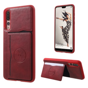 Card Holder Leather Coated TPU Case with Kickstand for Huawei P20 Pro Built-in Magnetic Sheet - Red