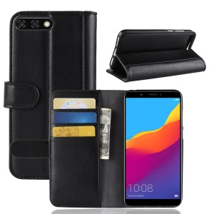 Genuine Split Leather Wallet Stand Cover Case for Huawei Y6 (2018)/Honor 7A (without Fingerprint Sensor) - Black