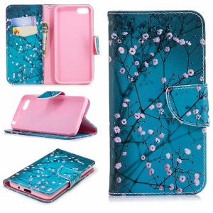 For Huawei Y5 Prime (2018) / Y5 (2018) Pattern Printing Leather Wallet Stand Casing - Pink Floret