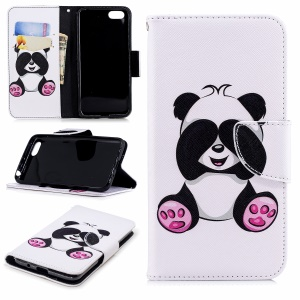 Pattern Printing PU Leather Wallet Protection Cover Case for Huawei Y5 Prime (2018) / Y5 (2018) - Cute Panda