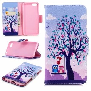 Pattern Printing PU Leather Wallet Mobile Accessory Case for Huawei Y5 Prime (2018) / Y5 (2018) - Tree and Owls