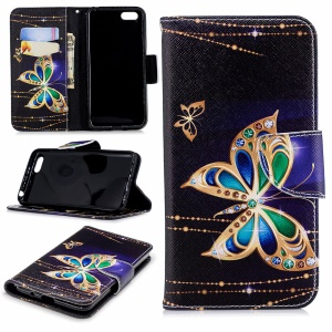 Pattern Printing PU Leather Wallet Magnetic Cover for Huawei Y5 Prime (2018) / Y5 (2018) - Colorized Butterfly