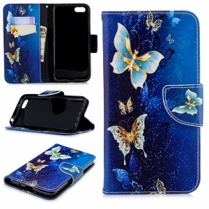 Pattern Printing PU Leather Wallet Stand Shell Case for Huawei Y5 Prime (2018) / Y5 (2018) - Butterfly Pattern