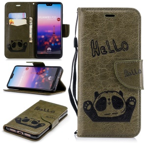 Imprinted Hello Panda Leather Wallet Mobile Cover for Huawei P20 - Army Green