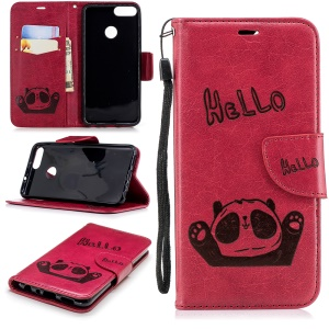 Imprinted Hello Panda Leather Stand Phone Cover for Huawei P Smart /Enjoy 7S - Rose