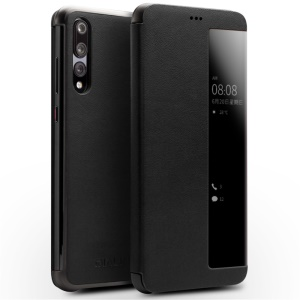 QIALINO View Window Cowhide Leather Smart Case for Huawei P20 Pro - Black