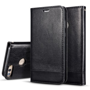 Splicing PU Leather Auto-absorbed Stand Case with Card Slots for Huawei Y9 (2018) / Enjoy 8 Plus - Black