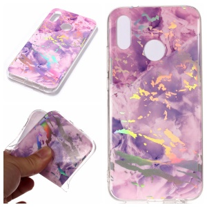 Marble Pattern Plated IMD TPU Cellphone Case for Huawei P20 Lite/Nova 3e - Purple