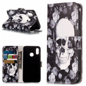 Pattern Printing Magnetic Leather Stand Case for Huawei P20 Lite / Nova 3e - Cool Skull