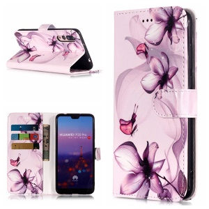 Pattern Printing Leather Wallet Cover for Huawei P20 Pro - Flower Pattern