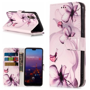 Pattern Printing Wallet Stand Leather Case for Huawei P20 - Purple Flower